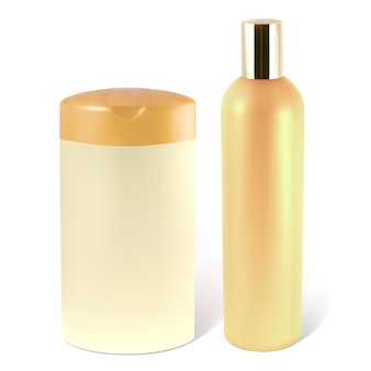Bottles of shampoo or lotion.    illustration contains gradient mesh.