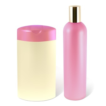 Bottles of shampoo or lotion