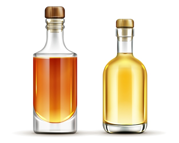 Bottles of tequila, whiskey, bourbon alcohol drinks set