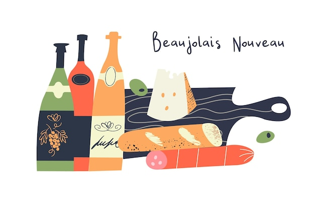 Bottles of wine cheese salami baguette on a black wooden cutting board