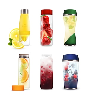 Bottles with detox fruit beverages set