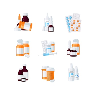 Bottles with drugs and pills in blisters in flat style