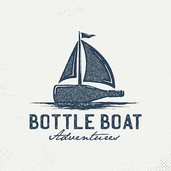 Bottles with sailboats logo