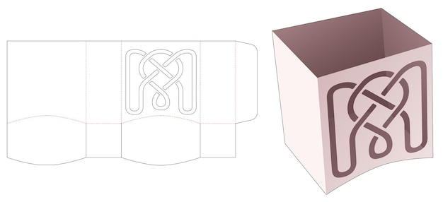 스텐실 라인 패턴 다이 컷 템플릿이있는 하단 곡선 측면 보울