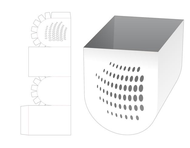 스텐실 도트 다이 컷 템플릿이있는 하단 라운드 보울