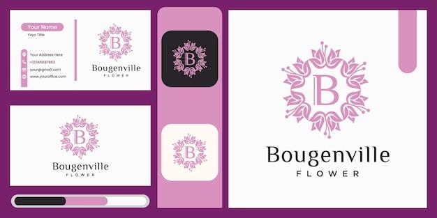 부겐빌레아 꽃 로고 디자인 서식 파일 아름 다운 꽃 아이콘 럭셔리 잎 개념 자연 로고