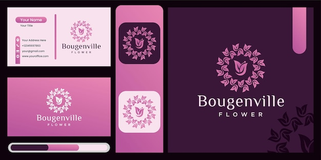 Шаблон дизайна логотипа цветка бугенвиллии, красивый цветок значок, шаблон дизайна логотипа природы с концепцией роскошных листьев абстрактный роскошный цветочный символ для природы, йоги и красоты.