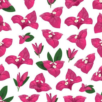 白い花、ピンクと緑の葉のブーゲンビリアシームレスパターン