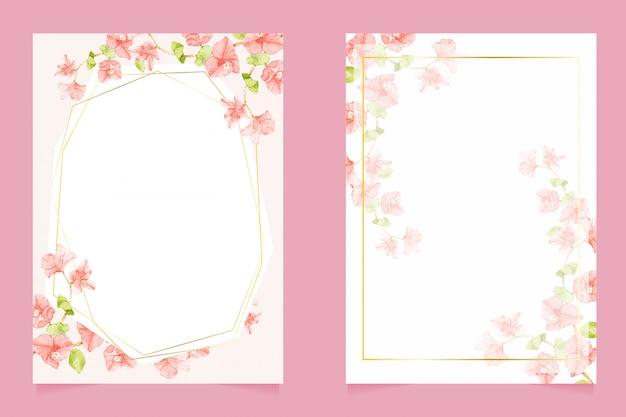 結婚式の招待カード5 x 7テンプレートコレクションのゴールデンフレームとブーゲンビリア水彩画