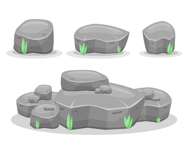Камни валуна, изолированные на белом фоне. игровые активы