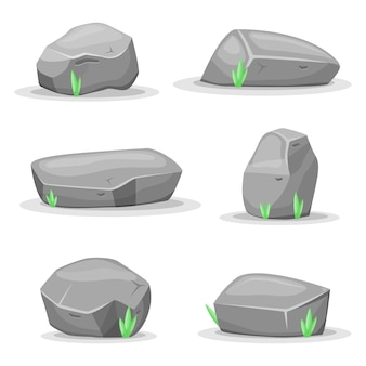 Boulder stones  isolated on white background. game assets