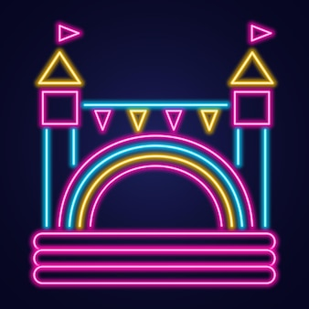 Bouncy castle neon icon. jumping house on kids playground.