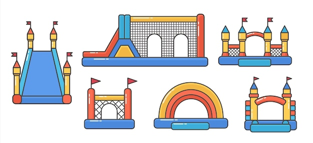 Bouncy inflatable castles. tower and equipment for child playground.