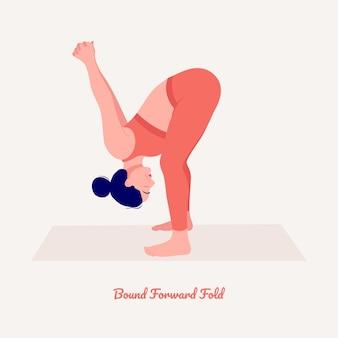 バウンドフォワードフォールドヨガのポーズヨガの練習を練習している若い女性