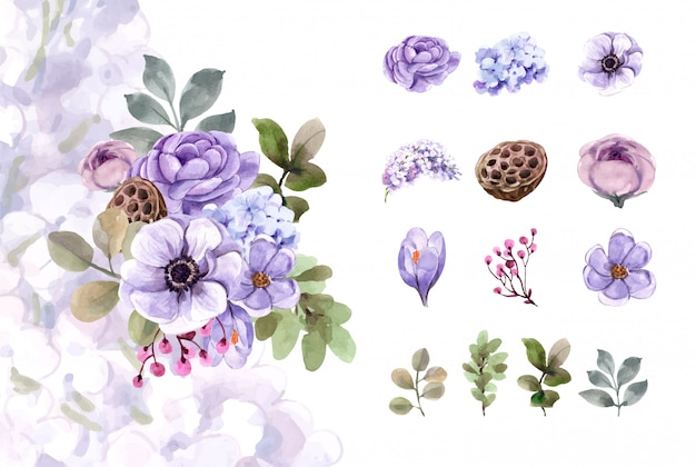 꽃다발과 꽃 요소 수채화 세트입니다.