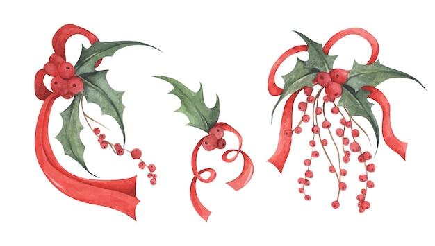 꽃다발 배열 홀리 잎과 활 수채화 그림 크리스마스 장식 요소