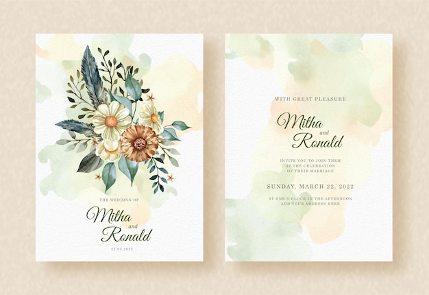 Bouquet of beauty flowers and leaves watercolor on splash wedding invitation background