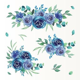 파란 장미 수채화 컬렉션이 있는 특별한 날을 위한 꽃다발 카드