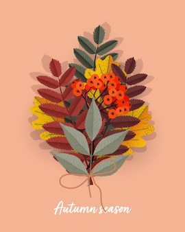 Bouquet of colored autumn leaves and rowan twig berries. vector isolated illustration