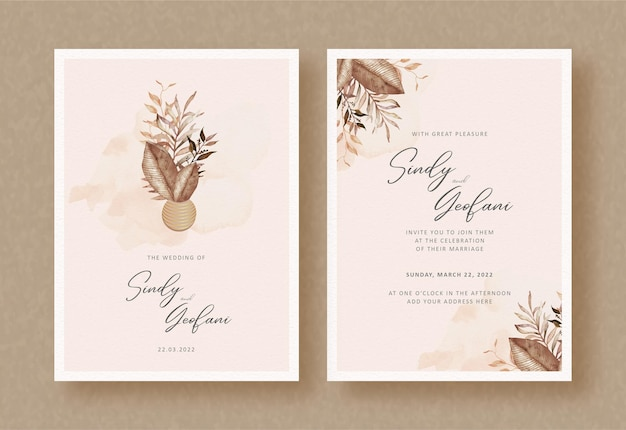 Bouquet dried autumn florals painting on wedding invitation background