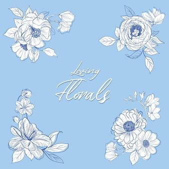 Bouquet floreale con illustrazione dell'acquerello di disegno di concetto di arte di linea di primavera