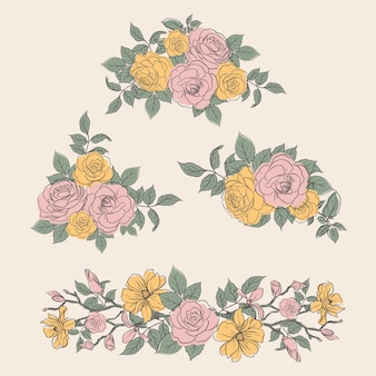 봄 라인 아트 컨셉 디자인 수채화 일러스트와 함께 꽃 꽃다발