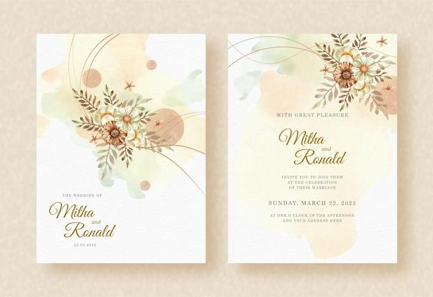 Букет цветочных акварелей с фигурами на фоне свадебного приглашения всплеск