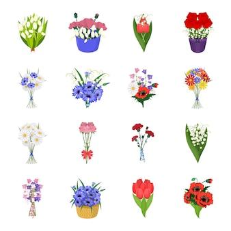 Букет цветов мультфильм установить значок. цветочные. изолированные мультфильм установить значок букет цветов.