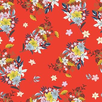 赤い背景のシームレスパターンの花束の花。