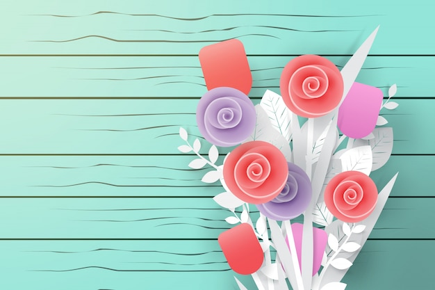 Bouquet of flower on wood background in paper art style