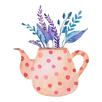 Bouquet, flowers, leaves in a teapot watercolor illustration
