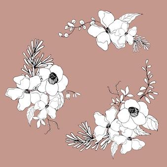 花束の花ラインアートトロピカル。装飾的な顕花植物。