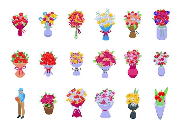 花束のアイコンは等角ベクトルを設定します。フラワーバスケット。花瓶の束
