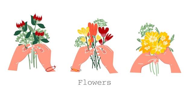 孤立した背景に手に花束。あなたの手で花のコレクション。花屋。はがきを飾ります。花屋のロゴ。スタイリッシュなイラスト。ベクター。