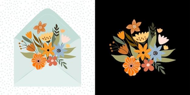 Букет осенних цветов внутри конверта декоративный векторный дизайн