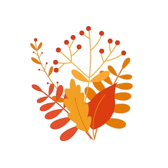 紅葉とベリーの花束