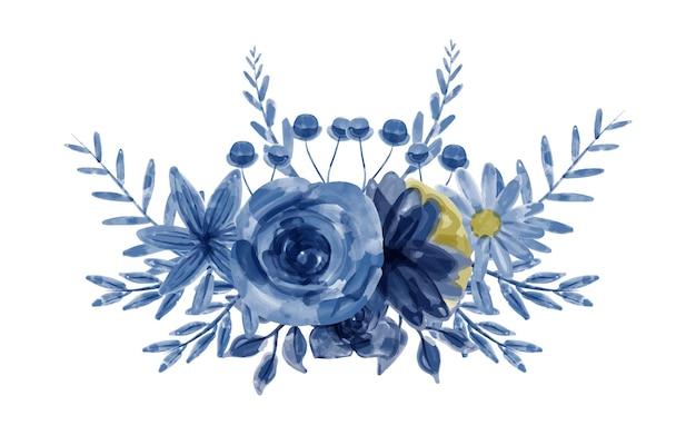 수채화와 푸른 꽃의 꽃다발