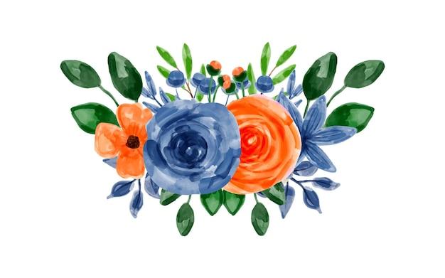 水彩画と青オレンジ色の花の花束