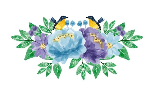 Букет из синих фиолетовых цветов и птиц с акварелью