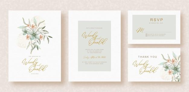 結婚式の招待状のテンプレートに水彩花の花束