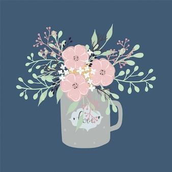 허브와 찻잔에 다양 한 꽃의 꽃다발.