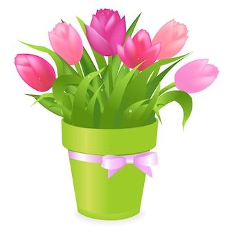 白い背景、イラストのグリーンポットに色とりどりのチューリップの花束