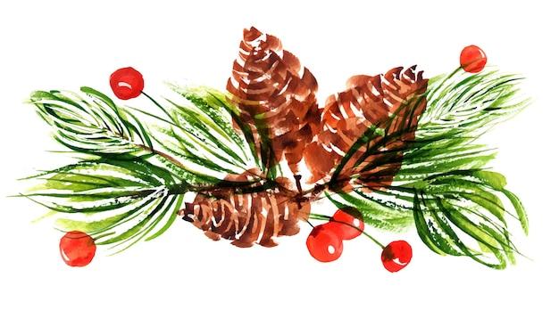 Букет из веток и шишек новогодней елки и ягод падуба