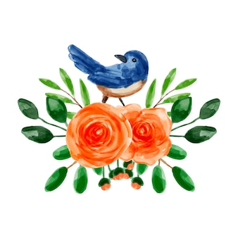 オレンジ色の花と水彩画の鳥の花束