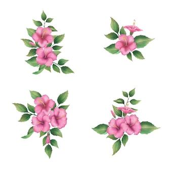 Букет из розовых цветов гибискуса и расписных листьев
