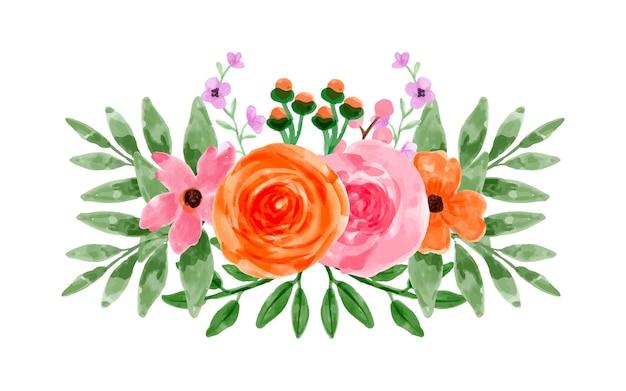 수채화와 핑크 오렌지 꽃의 꽃다발