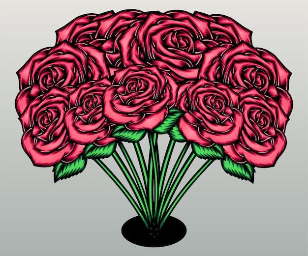 핑크 장미 꽃다발입니다.
