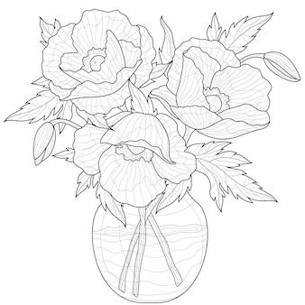 Букет маков в вазе. раскраска антистресс для детей и взрослых. иллюстрация, изолированные на белом фоне. стиль дзен клубок. черно-белый рисунок