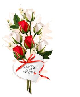 赤と白のバラの花束。バレンタインの背景。