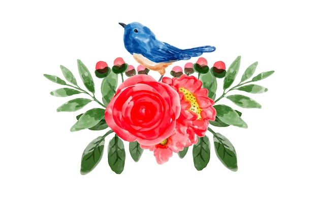赤い花と水彩画の鳥の花束